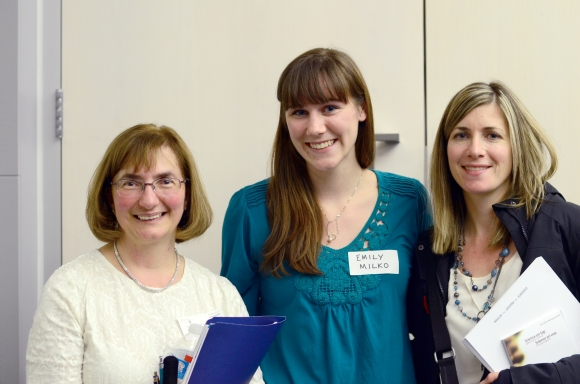 Subcommittee Co-chair Emily Milko (middle) with cafe facilitators Randi McCabe (right) and Debbie Nifakis (left)